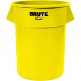 "Rubbermaid FG265500YEL Round Brute Trash Can - 55 Gallon Capacity - 26 1/2"" Dia. x 33"" H - Yellow in Color"