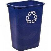 "Rubbermaid 2957-73 Recycling Wastebasket - 41 1/4 Quart Capacity - 15 1/4"" L x 11"" W x 19 7/8"" H - Blue in Color"