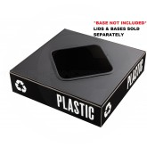 "Safco 2989BL Public Square - Square Opening Recycling Lid - TOP ONLY -  15"" Sq. x 3/4"" H - Black in Color"