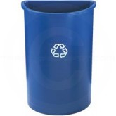 "Rubbermaid FG352073BLUE Untouchable Half Round Recycling Container - 21 Gallon Capacity - 21"" L x 11"" W x 28"" H - Blue in Color"