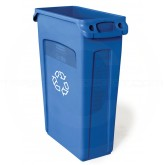 "Rubbermaid FG354007BLUE Slim Jim Recycling Container with Venting Channels - 23 Gallon Capacity - 22"" L x 11"" W x 30"" H - Blue in Color"