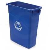 "Rubbermaid FG354173BLUE Slim Jim Recycling Container with Handles - 15 7/8 Gallon Capacity - 23 1/8"" L x 11"" W x 24 7/8"" H - Blue in Color"