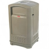 """Rubbermaid 3965 Plaza Container with Ashtray - 50 Gallon Capacity - 24 3/4"""" L x 25 1/4"""" W x 42.13"""" H"""