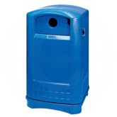 "Rubbermaid FG396873BLUE Plaza Bottle and Can Recycling Receptacle - 50 Gallon Capacity - 24 3/4"" L x 25 1/4"" W x 42.13"" H - Recycle Blue in Color"