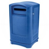"Rubbermaid FG396973BLUE Plaza Paper Recycling Receptacle - 50 Gallon Capacity - 24 3/4"" L x 25 1/4"" W x 42.13"" H - Recycle Blue in Color"