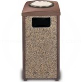 "Rubbermaid 3974 Landmark Steel Ash/Trash Sand Top Receptacle - 20 Gallon Capacity - 17 1/2"" Sq. x 34.81"" H - Brown with Desert Brown Stone Panels"