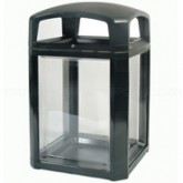 "Rubbermaid 3975-89 Landmark Series Security Container with Lock and Clear Panels - 26"" Sq. x 46 1/2"" H - 50 Gallon Capacity"