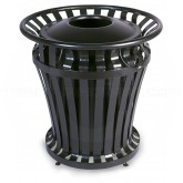 "Rubbermaid 4021 WeatherGard Series Trash Can - 32 Gallon Capacity - 30 1/8"" Dia. x 32"" H - Black in Color"