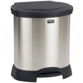 "Rubbermaid FG614687BLA Step-On Container - 23 Gallon Capacity - 22 1/4"" L x 20 3/8"" W x 27 1/2"" H - Black/Stainless Steel in Color"