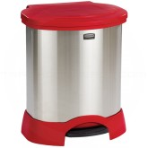 "Rubbermaid FG614687RED Step-On Container - 23 Gallon Capacity - 22 1/4"" L x 20 3/8"" W x 27 1/2"" H - Red/Stainless Steel in Color"