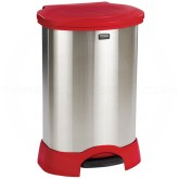 "Rubbermaid FG614787RED Step-On Container - 30 Gallon Capacity - 22 1/4"" L x 20 3/8"" W x 34 1/4"" H - Red/Stainless Steel in Color"