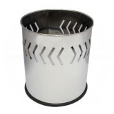 """Witt Industries 66SS-ABP Executive Round Wastebasket with Arrow Band Pattern - 4 gallon capacity - 10 1/8"""" Dia. x 11 5/8"""" H - Stainless Steel in Color ("""
