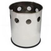 """Witt Industries 66SS-HBP Executive Round Wastebasket with Hole Band Pattern - 4 gallon capacity - 10 1/8"""" Dia. x 11 5/8"""" H - Stainless Steel in Color"""