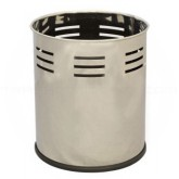 """Witt Industries 66SS-SBP Executive Round Wastebasket with Slot Band Pattern - 4 gallon capacity - 10 1/8"""" Dia. x 11 5/8"""" H - Stainless Steel in Color"""