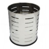 """Witt Industries 66SS-SLP Executive Round Wastebasket with Slot Pattern - 4 gallon capacity - 10 1/8"""" Dia. x 11 5/8"""" H - Stainless Steel in Color"""