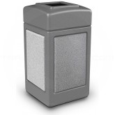 "Commercial Zone 720311 StoneTec Aggregate Trash Can with Open Top - 42 Gallon Capacity - 18 1/2' Sq. x 34 1/2"" H - Gray with Ashtone Panels"