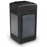 "Commercial Zone 720313 StoneTec Aggregate Trash Can with Open Top - 42 Gallon Capacity - 18 1/2"" Sq x 34 1/2"" H - Black with Pepperstone Panels"