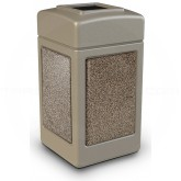 "Commercial Zone 720315 StoneTec Aggregate Trash Can with Open Top - 42 Gallon Capacity - 18 1/2"" Sq. x 34 1/2"" H - Beige with Riverstone Panels"
