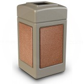 "Commercial Zone 720316 StoneTec Aggregate Trash Can with Open Top - 42 Gallon Capacity - 18 1/2"" Sq. x 34 1/2"" H - Beige with Sedona Panels"