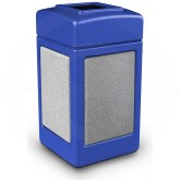 "Commercial Zone 720330 StoneTec Aggregate Trash Can with Open Top - 42 Gallon Capacity - 18 1/2' Sq. x 34 1/2"" H - Blue with Ashtone Panels"