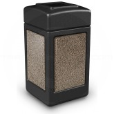 "Commercial Zone 720352 StoneTec Aggregate Trash Can with Open Top - 42 Gallon Capacity - 18 1/2"" Sq. x 34 1/2"" H - Black with Riverstone Panels"