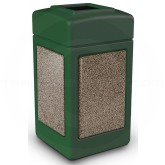 "Commercial Zone 720354 StoneTec Aggregate Trash Can with Open Top - 42 Gallon Capacity - 18 1/2"" Sq. x 34 1/2"" H - Forest Green with Riverstone Panels"