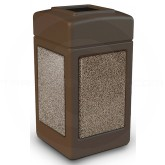 "Commercial Zone 720355 StoneTec Aggregate Trash Can with Open Top - 42 Gallon Capacity - 18 1/2"" Sq. x 34 1/2"" H - Brown with Riverstone Panels"