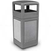 "Commercial Zone 72041199 StoneTec Aggregate Trash Can with Dome Lid - 42 Gallon Capacity - 18 1/2"" Sq. x 41 3/4"" H - Gray with Ashtone Panels"