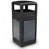 "Commercial Zone 72041399 StoneTec Aggregate Trash Can with Dome Lid - 42 Gallon Capacity - 18 1/2"" Sq. x 41 3/4"" H - Black with Pepperstone Panels"