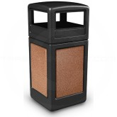 "Commercial Zone 72041499 StoneTec Aggregate Trash Can with Dome Lid - 42 Gallon Capacity - 18 1/2"" Sq. x 41 3/4"" H - Black with Sedona Panels"
