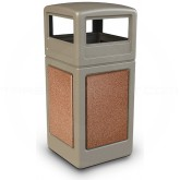 "Commercial Zone 72041699 StoneTec Aggregate Trash Can with Dome Lid - 42 Gallon Capacity - 18 1/2"" Sq. x 41 3/4"" H - Beige with Sedona Panels"