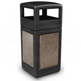 "Commercial Zone 72045299 StoneTec Aggregate Trash Can with Dome Lid - 42 Gallon Capacity - 18 1/2"" Sq. x 41 3/4"" H - Black with Riverstone Panels"