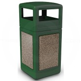 "Commercial Zone 72045499 StoneTec Aggregate Trash Can with Dome Lid - 42 Gallon Capacity - 18 1/2"" Sq. x 41 3/4"" H - Forest Green with Riverstone Panels"