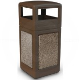 "Commercial Zone 72045599 StoneTec Aggregate Trash Can with Dome Lid - 42 Gallon Capacity - 18 1/2"" Sq. x 41 3/4"" H - Brown with Riverstone Panels"