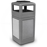 "Commercial Zone 72051199 StoneTec Aggregate Trash Can with Ash/Trash Dome Lid - 42 Gallon Capacity - 18 1/2"" Sq. x 42 1/4"" H - Gray with Ashtone Panels"