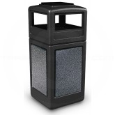 "Commercial Zone 72051399 StoneTec Aggregate Trash Can with Ash/Trash Dome Lid - 42 Gallon Capacity - 18 1/2"" Sq. x 42 1/4"" H - Black with Pepperstone Panels"