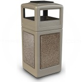 "Commercial Zone 72051599 StoneTec Aggregate Trash Can with Ash/Trash Dome Lid - 42 Gallon Capacity - 18 1/2"" Sq. x 42 1/4"" H - Beige with Riverstone Panels"