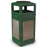 "Commercial Zone 72055499 StoneTec Aggregate Trash Can with Ash/Trash Dome Lid - 42 Gallon Capacity - 18 1/2"" Sq. x 42 1/4"" H - Forest Green with Riverstone Panels"