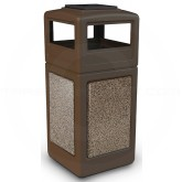 "Commercial Zone 72055599 StoneTec Aggregate Trash Can with Ash/Trash Dome Lid - 42 Gallon Capacity - 18 1/2"" Sq. x 42 1/4"" H - Brown with Riverstone Panels"