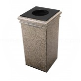 "Commercial Zone Square StoneTec Poly Light Concrete Trash Can - 30 Gallon Capacity - 19"" Sq. x 33"" H - Riverstone in Color"