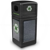 "Commercial Zone 72231399 StoneTec Recycle42 Recycling Containers - 42 Gallon Capacity - 18 1/2"" Sq. x 41 3/4"" H - Black with Pepperstone Panels"