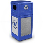 "Commercial Zone 72233099 StoneTec Recycle42 Recycling Containers - 42 Gallon Capacity - 18 1/2"" Sq. x 41 3/4"" H - Blue with Ashtone Panels"
