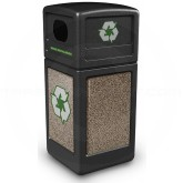 "Commercial Zone 72235299 StoneTec Recycle42 Recycling Containers - 42 Gallon Capacity - 18 1/2"" Sq. x 41 3/4"" H - Black with Riverstone Panels"