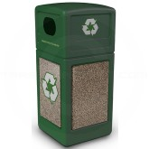 "Commercial Zone 72235499 StoneTec Recycle42 Recycling Containers - 42 Gallon Capacity - 18 1/2"" Sq. x 41 3/4"" H - Forest Green with Riverstone Panels"