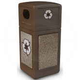 "Commercial Zone 72235599 StoneTec Recycle42 Recycling Containers - 42 Gallon Capacity - 18 1/2"" Sq. x 41 3/4"" H - Brown with Riverstone Panels"