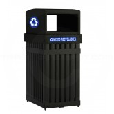 "Commercial Zone ArchTec Parkview Recycling Container - 25 Gallon Capacity - 17 1/4"" W x 21 3/4"" D x 39 1/2"" H - Black in Color"