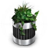"Commercial Zone 727643 Riverview  Series Planter  - 18 1/4"" Dia. x 20 1/2"" H - Black with Stainless Steel Accents"