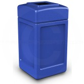 "Commercial Zone 732104 Square Open Top Trash Can - 42 Gallon Capacity - 18 1/2"" Sq. x 34 1/2"" H - Blue in Color"
