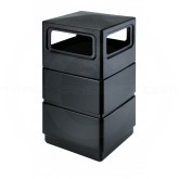 "Commercial Zone 3-Tier Dome Top Trash Can - 38 Gallon Capacity - 18 1/2"" W x 18 1/2"" D x 40"" H - Black in Color"