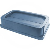 "Continental 7325GY Tip Top Lid for Wall Hugger Trash Containers - 11 1/2"" L x 20 1/2"" W x 4 3/4"" H - Gray in Color"